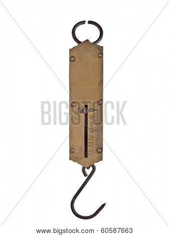 vintage portable brass spring weighing scale isolated over white, clipping path