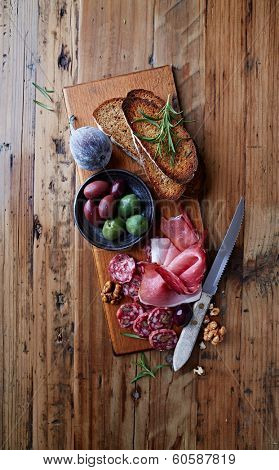 Mediterranean Antipasti on Wooden Board