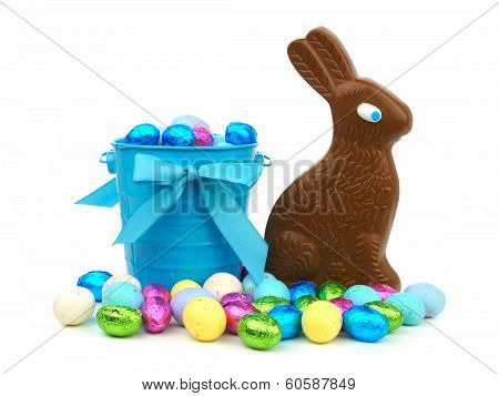 Easter candy with pail and bunny