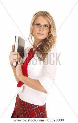 School Girl Red Skirt Book Hold Looking