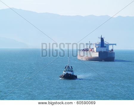 tanker ship on anchor
