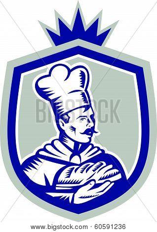 Baker Holding Bread Loaf Woodcut Crest