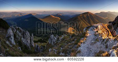 Slovakia mountain peak Rozsutec at sunset - panorama