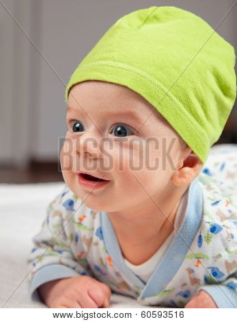 Baby Boy At Tummy Time
