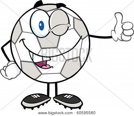 Winking Soccer Ball Cartoon Character Holding A Thumb Up