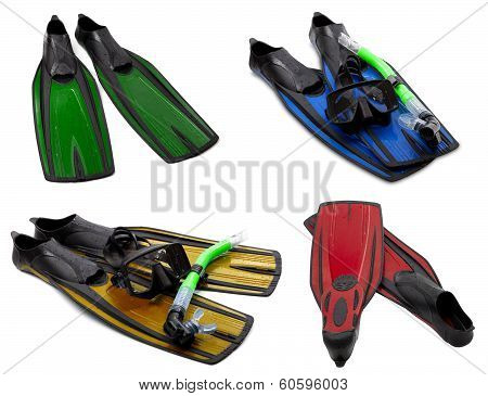 Set Of Multicolored Flippers, Masks, Snorkel For Diving With Water Drops