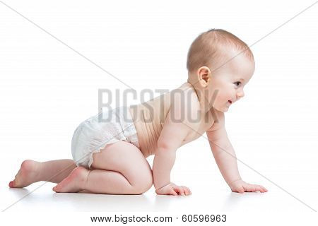 Side View Of Pretty Crawling Baby