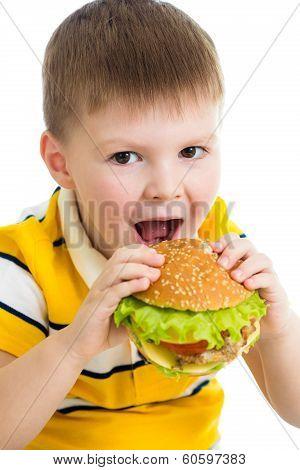 Child Boy Eating Hamburger