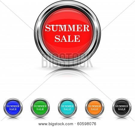 Summer Sale Icon - Six Colors Vector Set