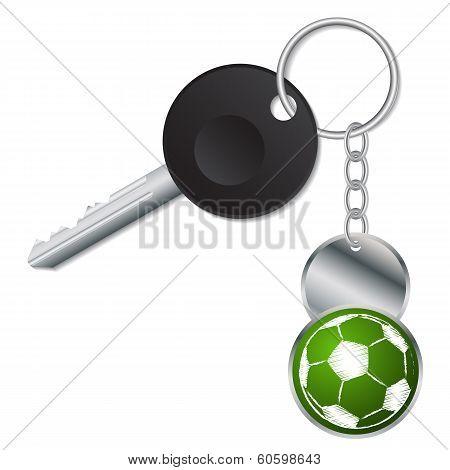 Black Key With Metallic Soccer Ball Keyholder