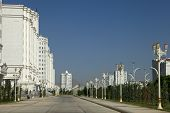 Wide Boulevard With Some New Buildings. Ashkhabad. Turkmenistan.