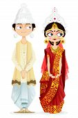 foto of bengali  - easy to edit vector illustration of Bengali wedding couple - JPG