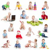 image of crawling  - set of crawling babies or toddlers with toys isolated on white - JPG