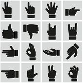 stock photo of clenched fist  - Hand gestures icons set vector set - JPG