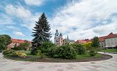 image of erection  - Wawel is a fortified architectural complex erected over many centuries atop a limestone outcrop on the left bank of the Vistula river in Krakow Poland - JPG
