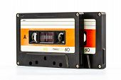 picture of magnetic tape  - Closeup cassette tape isolate on white background - JPG