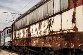 stock photo of railcar  - Abandoned rusty rail - JPG