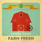stock photo of red barn  - Farm Organic Food Poster - JPG