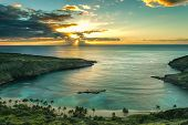 stock photo of shoreline  - Sunrise over Hanauma Bay on Oahu Hawaii - JPG