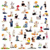 image of gymnastic  - children or kids or babies playing professions isolated on white - JPG