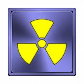image of radium  - Square metallic icon with carved design on blue background - JPG