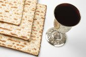 picture of seder  - Matzo and wine cup on white background - JPG