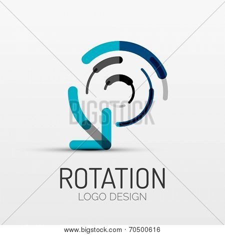 Vector rotation icon, arrow company logo design, business symbol concept, minimal line style