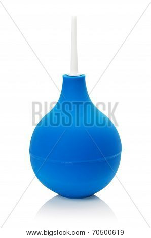 Blue Enema Isolated On The White Background