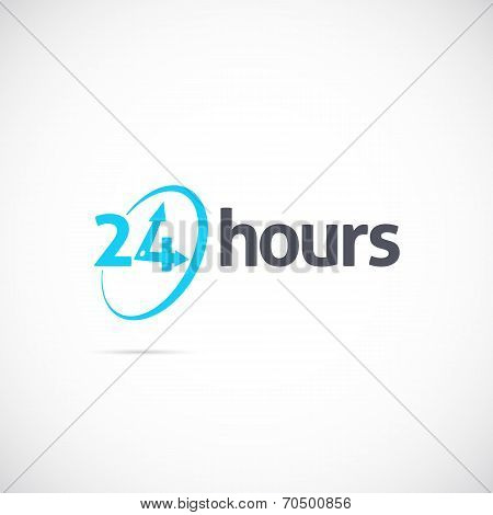 Twenty Four Hours Symbol Icon or Signboard For Your Business