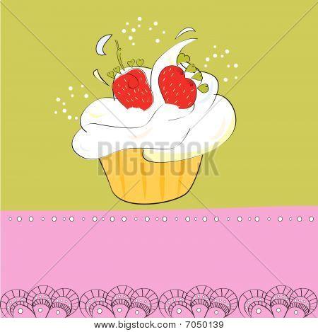 Decorative card with cupcake