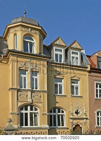 Historic House Facade With Jutty And Gables, Germany