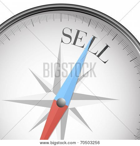 detailed illustration of a compass with sell text, eps10 vector