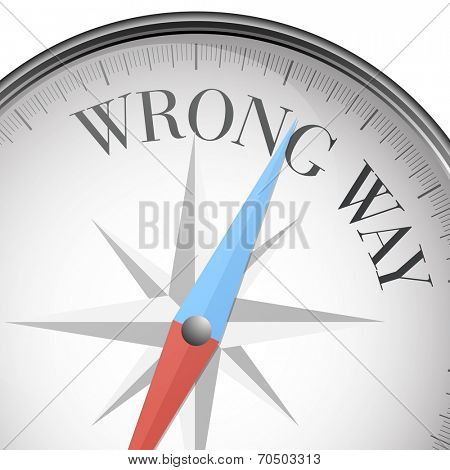 detailed illustration of a compass with wrong way text, eps10 vector