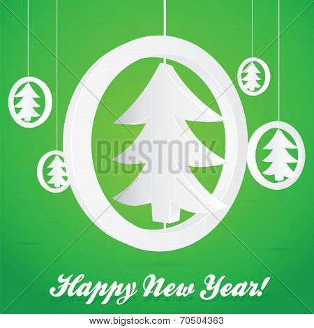 ChristmasTree in Circle Abstract Vector Card or Background