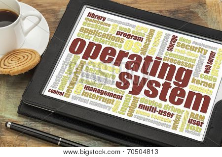 operating system word cloud on a digital tablet with a cup of coffee and cookie