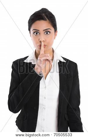 Concept For Secrets, Private, Discretion: Isolated Indian Woman Gesturing.