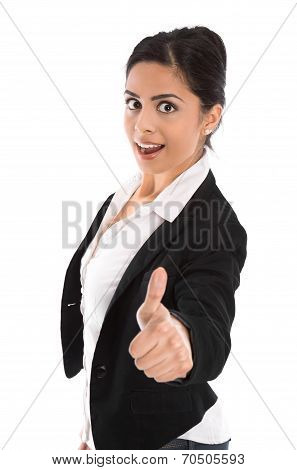 Successful Young Indian Business Woman Isolated Over White.