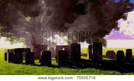 Sacred tombstones in the ancient forest