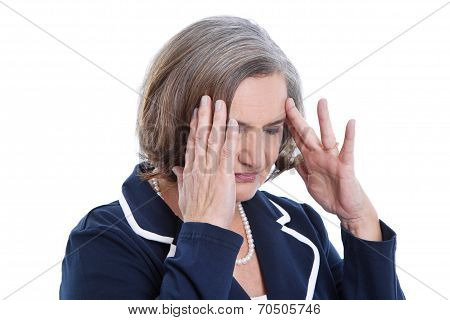 Stressed And Isolated Older Woman Having Headache Or Problems.