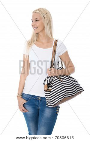 Teenager Girl Isolated Over White With Shopping Basket Looking Sideways To Text.