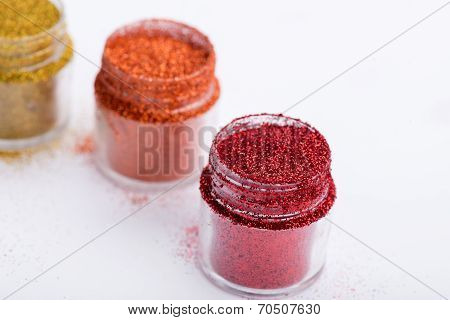 Close-up view of  powder eyeshadows  in different colours isolat