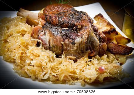 Pork Knuckle Baked With  Sauerkraut