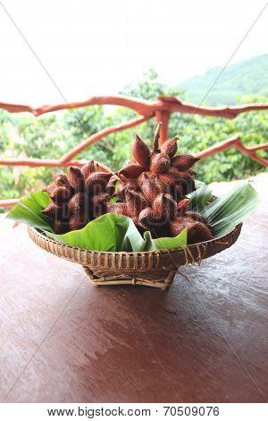 Fresh Salak Snake Fruit In Basket.
