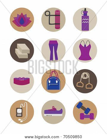 Flat women Yoga essentials icons