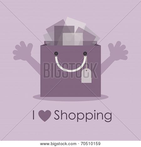 Cute smiley gift bag with open hands