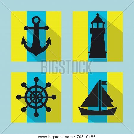 Naval icons set with long shadow