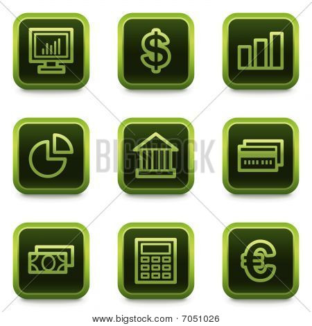 Finance web icons set 1, green square buttons series