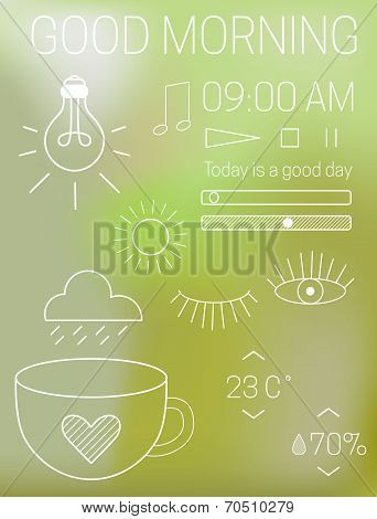 Thin mobile app interface design elements at blur green natural background. Vector icons of light, m