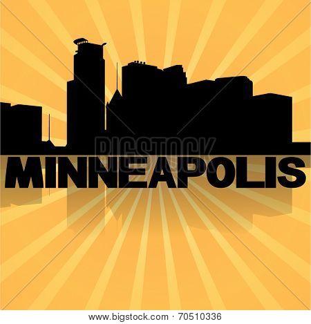 Minneapolis skyline reflected with sunburst vector illustration