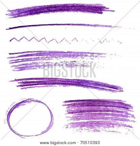 Set of violet color pencil strokes and frames. Sketch vector design elements
